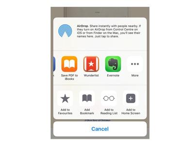 iPhone'a web sayfasını PDF olarak kaydetme